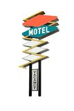 Motel Sign. This is a retro motel sign isolated on white with the words motel and vacancy Stock Photo