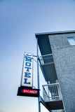 Motel sign with vacancy at beachfront motel, Victoria, BC Stock Images