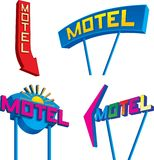 Motel Signs. Set of four retro looking motel signs at different angles Stock Photography