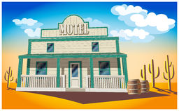Motel. Stylized vector illustration of a motel in the middle of the desert Royalty Free Stock Photography
