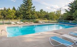 Motel swimming pool. Blue water motel swimming pool, Wilmington New York Stock Photos