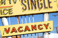 Motel Vacany Sign. Vintage yellow and red motel vacancy sign Stock Image