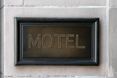 Motel wooden plaque Stock Photography
