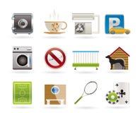 motell för facilitethotellsymboler Arkivbild