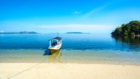 A Moter Boat Parking on the Beach royalty free stock photo