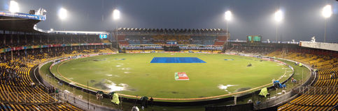 Motera cricket stadium. A panoramic view of the cricket stadium in Motera, Ahmedabad on a rainy day stock photos