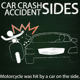 Moterbike and Car crash Side collision by chalk Stock Photography