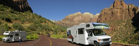 Moterhome at Zion National parc. Utah America Stock Images