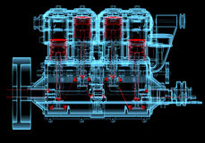 Moteur à combustion interne (transparents rouges et bleus de rayon X 3D) Photos libres de droits