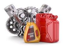 Moteur, boîte métallique d'huile de moteur et jerrycan. illustration de vecteur