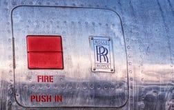 Moteur d'avions, panneau d'acce2s du feu Vicomte 1958 de Vickers 406 image stock