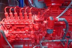 Moteur diesel, moteur rouge images libres de droits