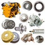 Moteur et peu de pièces des véhicules à moteur Image stock