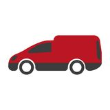 Moteur van icon sur le blanc service de distribution de véhicule de camion Image stock