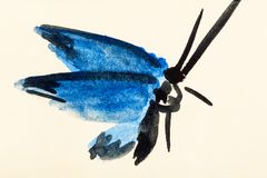 Moth with blue wings hand painted on colored paper Royalty Free Stock Photos