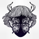 Moth girl face with butterfly wings for eyes. Royalty Free Stock Images