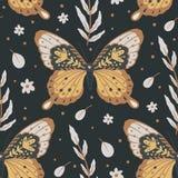 Moth vector seamless pattern.