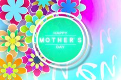 Mother's Day Beautiful Template Greeting Card. With Paper Flowers and Decorative Letters for Design Stock Vector Illustration Royalty Free Stock Images