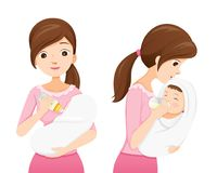 Mother Feeding Baby With Milk In Baby Bottle, Front And Side Vie. Mother's day Suckling Infant Motherhood Innocence Stock Images