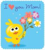 Mother's dnia ptak z kwiatami royalty ilustracja