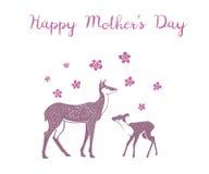 Mother& x27; 与鹿的s天创造性的传染媒介卡片 免版税图库摄影