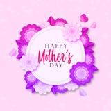 Mother';s天与五颜六色的开花花的贺卡 与美丽的花和阴影的明亮的例证 库存例证