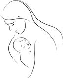 Mother. Linear silhouette of mother and the child Stock Photo
