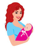 Mother. Vector illustration young happy mum with the baby Royalty Free Stock Image