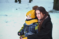 Mother ad son in winter Stock Image
