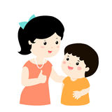 Mother Admire Son Character Cartoon Stock Image