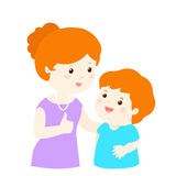 Mother admire son character cartoon  Stock Photo