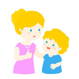 Mother admire son character cartoon  Royalty Free Stock Photo