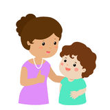 Mother admire son character cartoon  Stock Photography