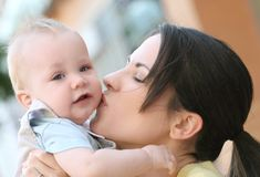 Mother with adorable baby boy - happy family stock photos