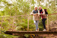 Mother and adult daughter on a bridge in a forest, to camera royalty free stock photo