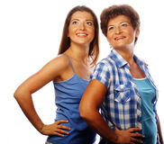 Mother and adult daughter looking up Royalty Free Stock Images