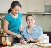 Mother with adult daughter making meat dumplings Stock Photos