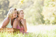 Mother with adult daughter on picnic Royalty Free Stock Photos