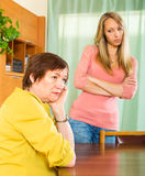 Mother and adult daughter after quarrel Stock Image