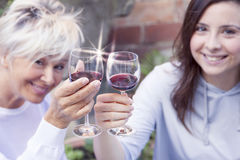 Mother and adult daughter tasting wine royalty free stock photo