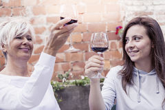 Mother and adult daughter tasting wine sitting outdoor royalty free stock photo