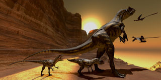 Allosaurus at Sunset. Mother Allosaurus watches as two Archaeopteryx birds fly to mountain cliffs to roost for the night Stock Images
