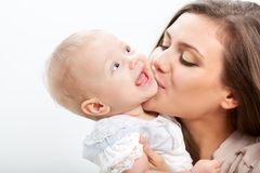 Mother And Baby Closeup Portrait Stock Photo