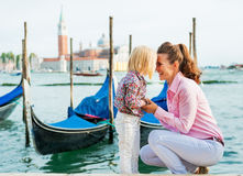 Mother And Baby On Grand Canal In Venice, Italy Royalty Free Stock Images