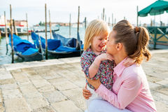 Mother And Baby On Grand Canal In Venice, Italy Royalty Free Stock Photography