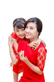 Mother And Child Holding Red Packet Money Stock Photos