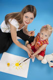 Mother And Daughter Drawing Stock Images