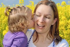 Free Mother And Daughter Happily Kissing On Spring Stock Images - 211737124