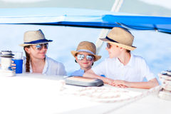 Mother And Kids At Luxury Yacht Stock Images
