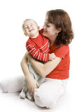 Mother And Son Isolated On White. Stock Images
